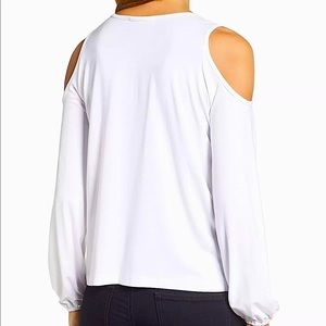 NWT Rebecca Minkoff  White Cut Out Shoulder Top